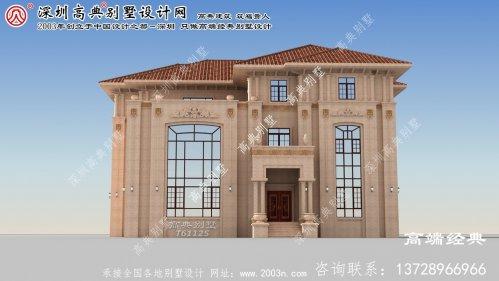 突泉县农村三层欧式石材洋房设计图