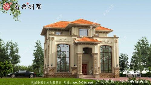 丰南市 简单 的三层 自建房 效果图吧。