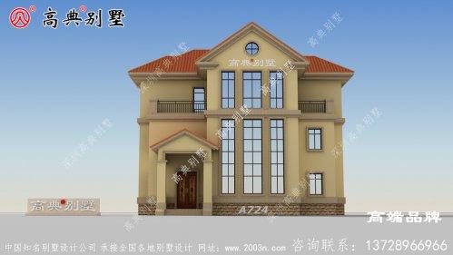 三层复式别墅外观图,造型错落有致